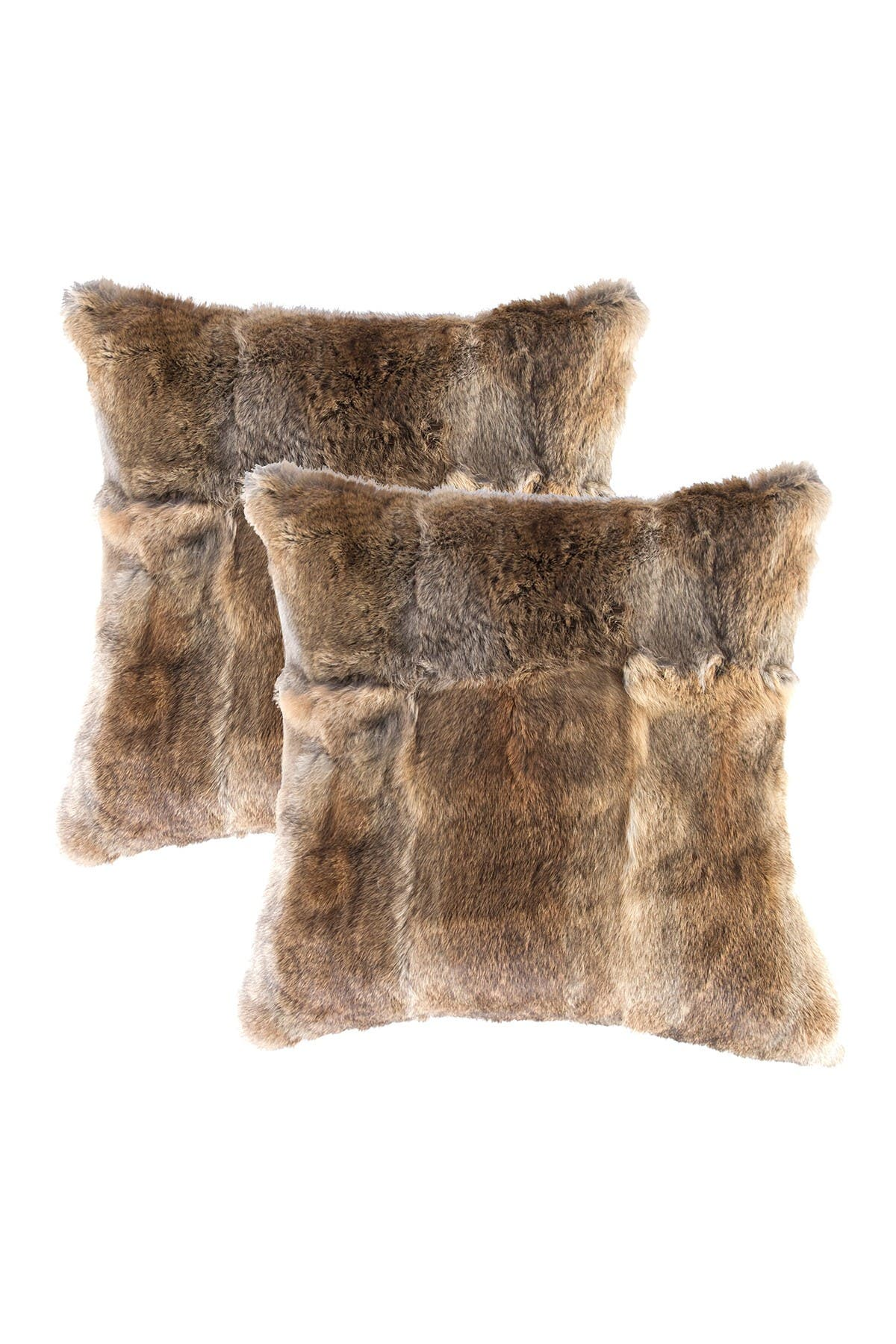 "Image of Natural Genuine Rabbit Fur Pillow - Set of 2 - 18"" x 18"" - Hazelnut"