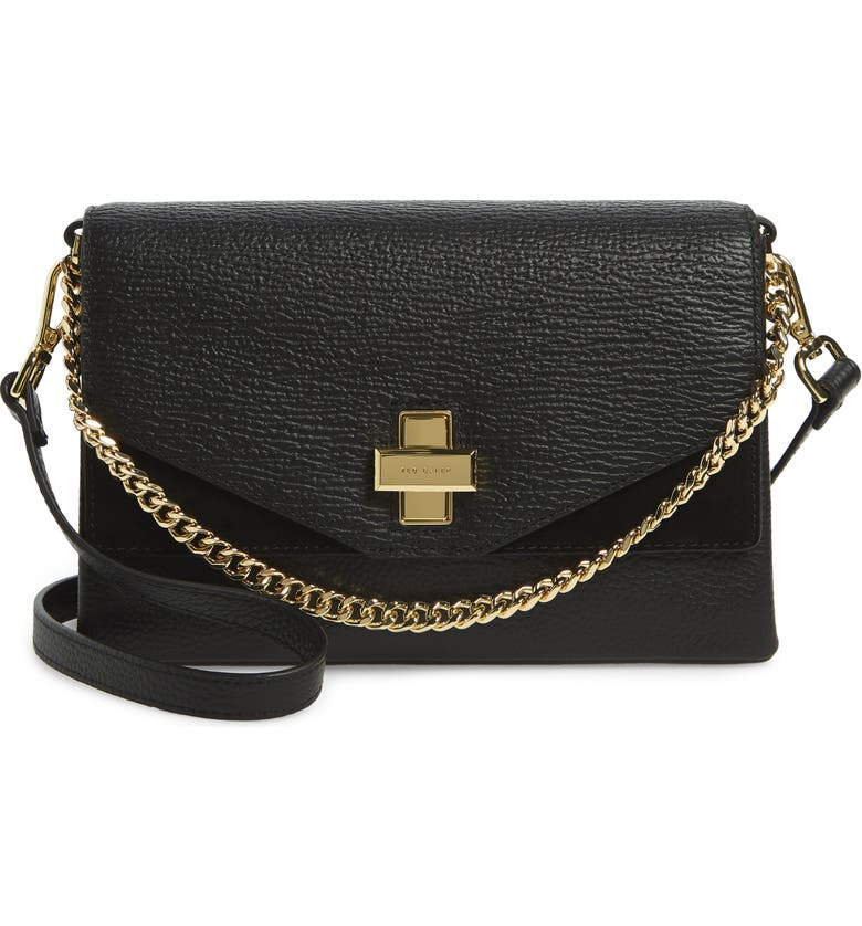 TED BAKER LONDON Bethan Leather Crossbody Bag, Main, color, BLACK