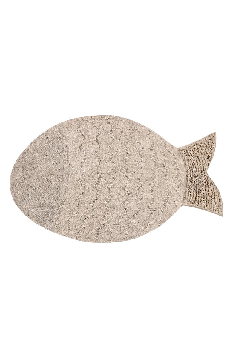 LORENA CANALS Big Fish Washable Recycled Cotton Blend Rug, Main, color, CREAM