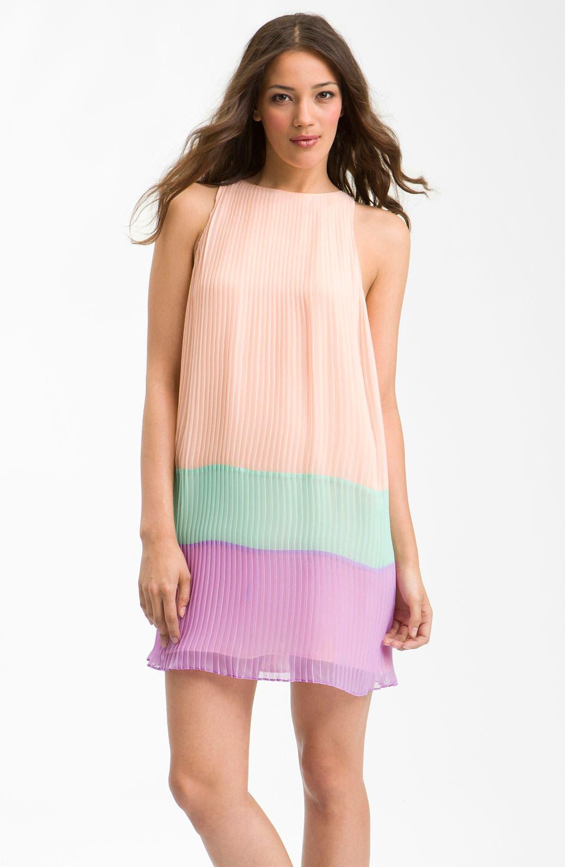 ,                             Pleated Colorblock Shift Dress,                             Main thumbnail 1, color,                             650