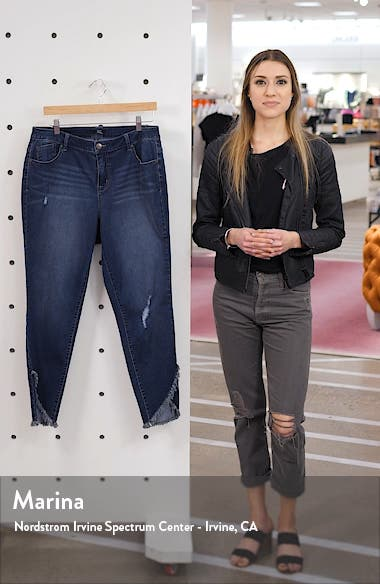 Asymmetrical Fray Hem Skinny Jeans, sales video thumbnail