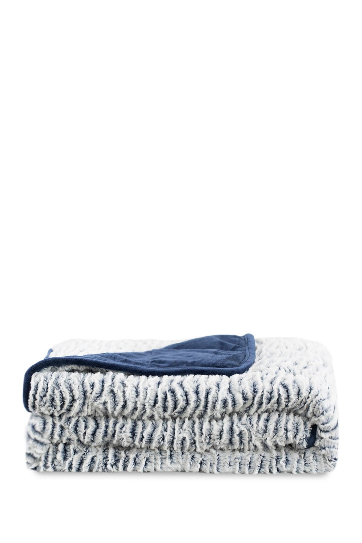 Image of DREAM THEORY Navy Fleece Faux Fur 10lb Weighted Blanket