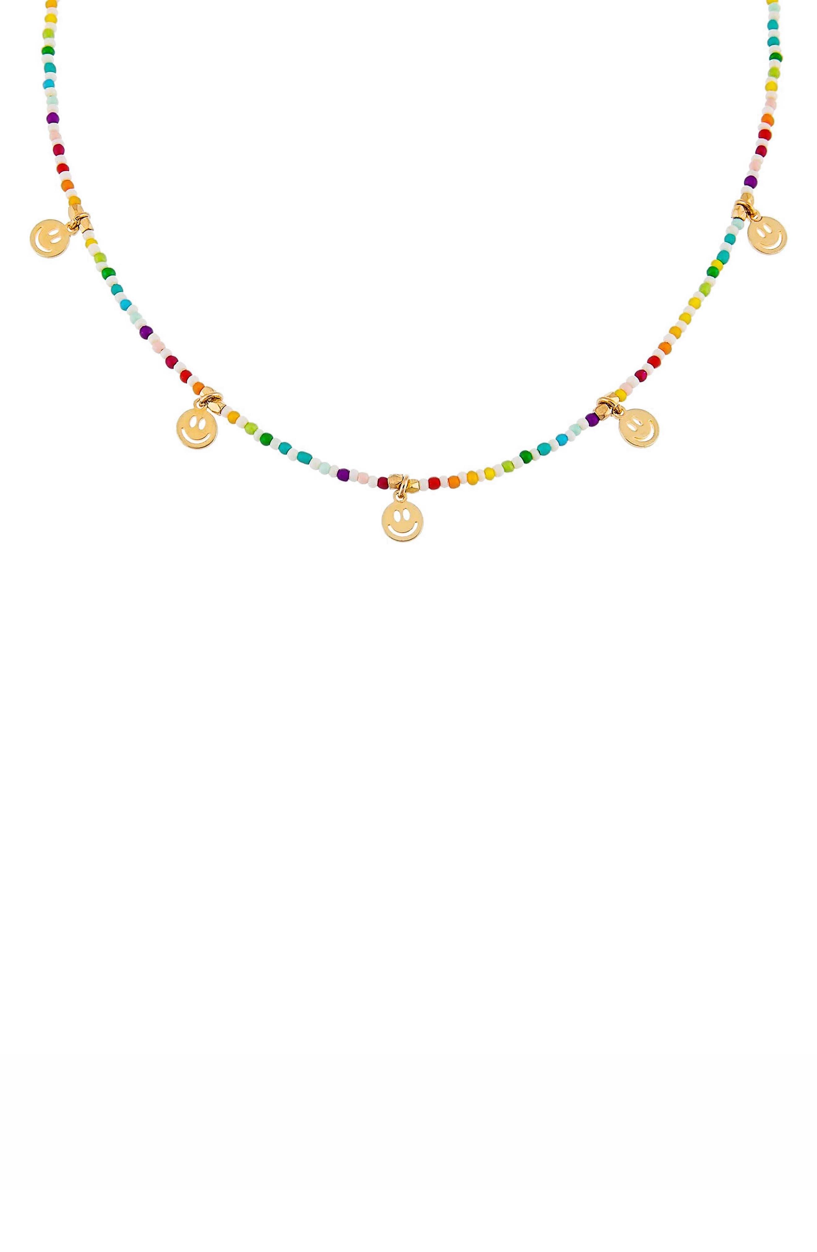 Women's Adina's Jewels Rainbow Smiley Face Beaded Necklace