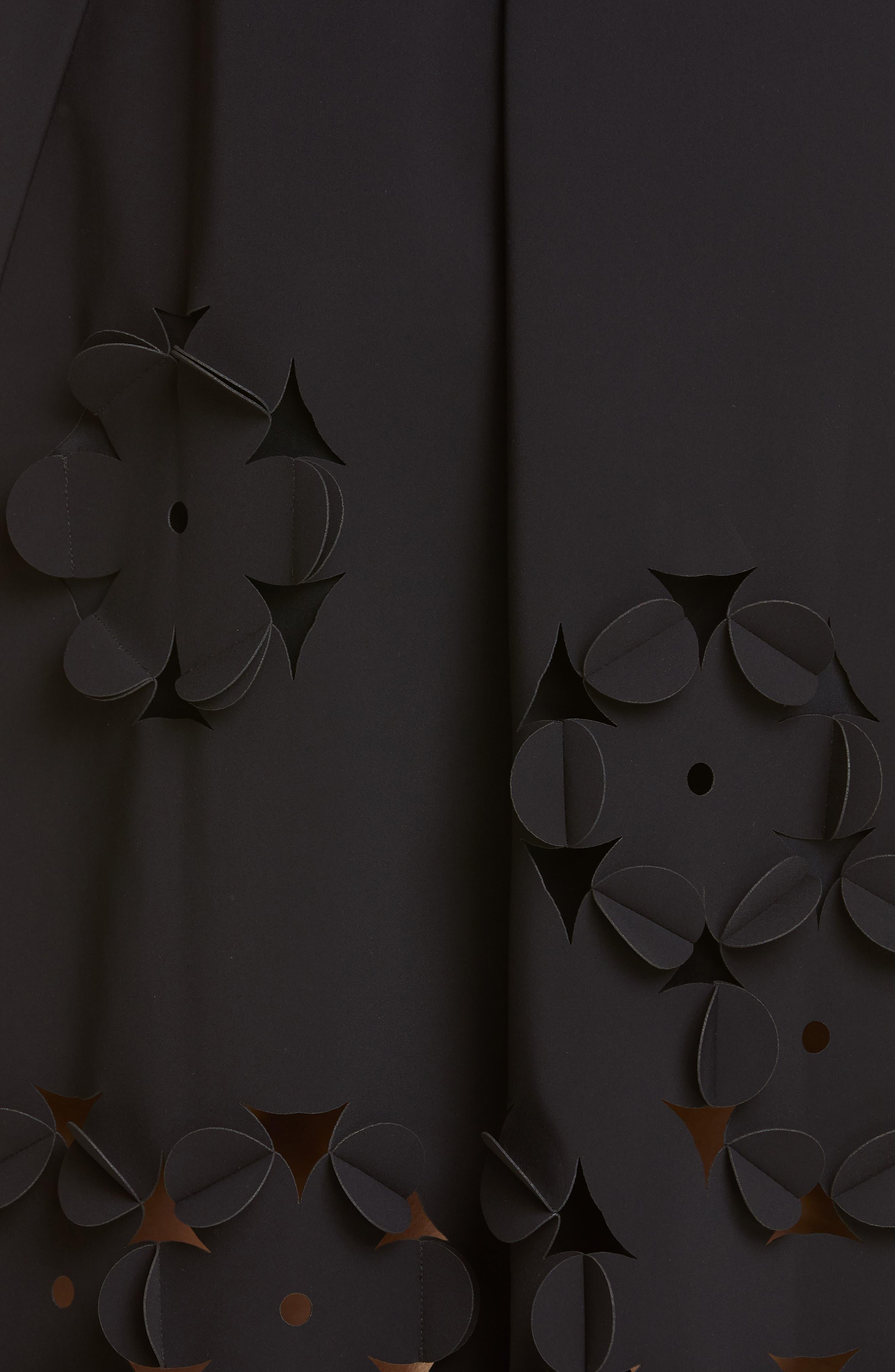 ,                             Floral Appliqué Fit & Flare Dress,                             Alternate thumbnail 5, color,                             001