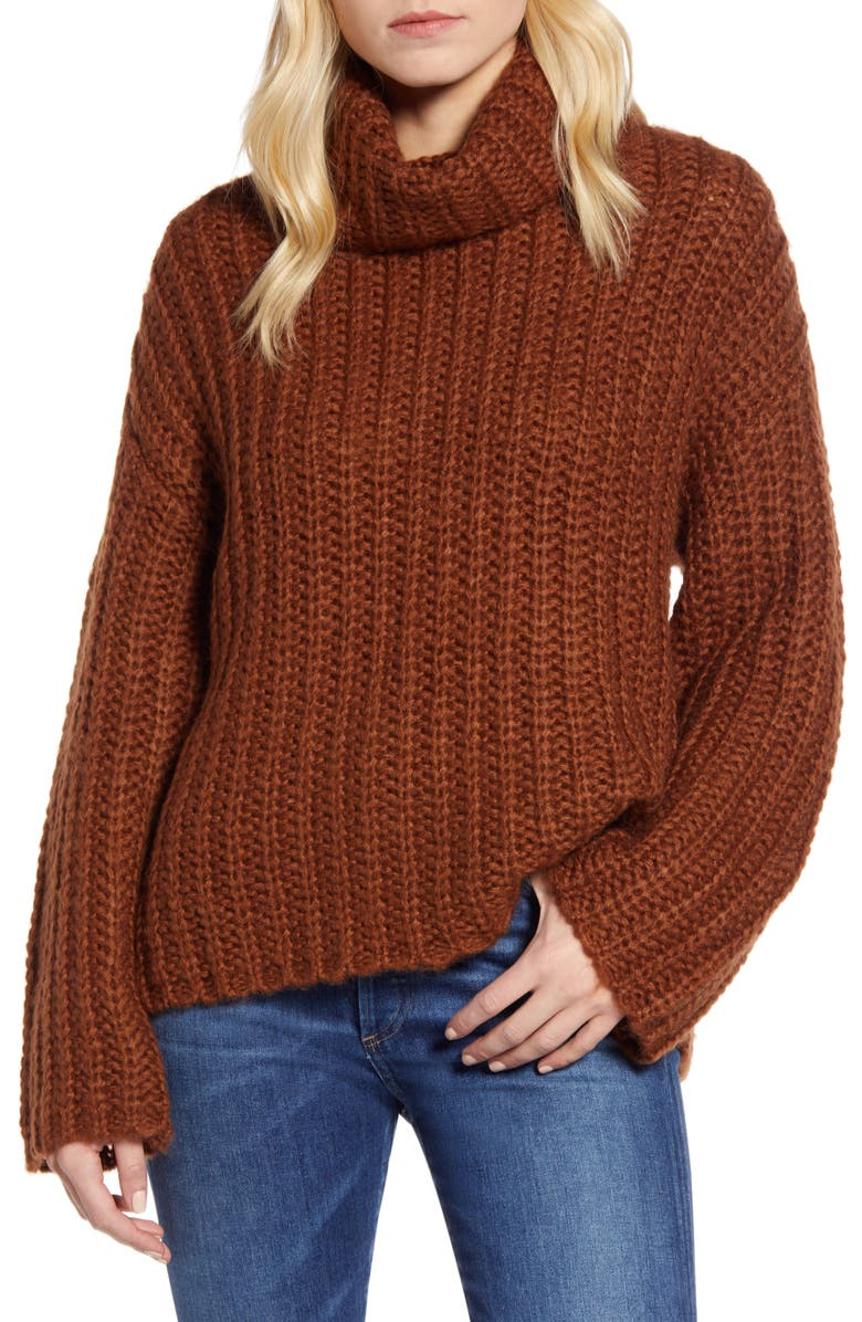RD STYLE Cowl Neck Sweater, Main, color, RUST