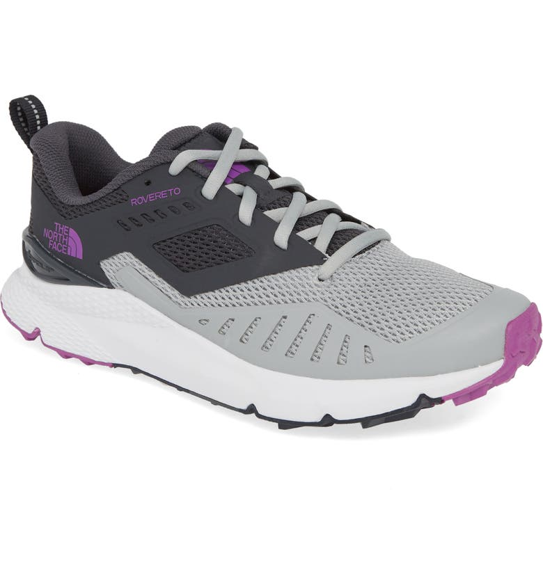 THE NORTH FACE Rovereto Running Shoe, Main, color, HIGH RISE GREY/ PURPLE CACTUS
