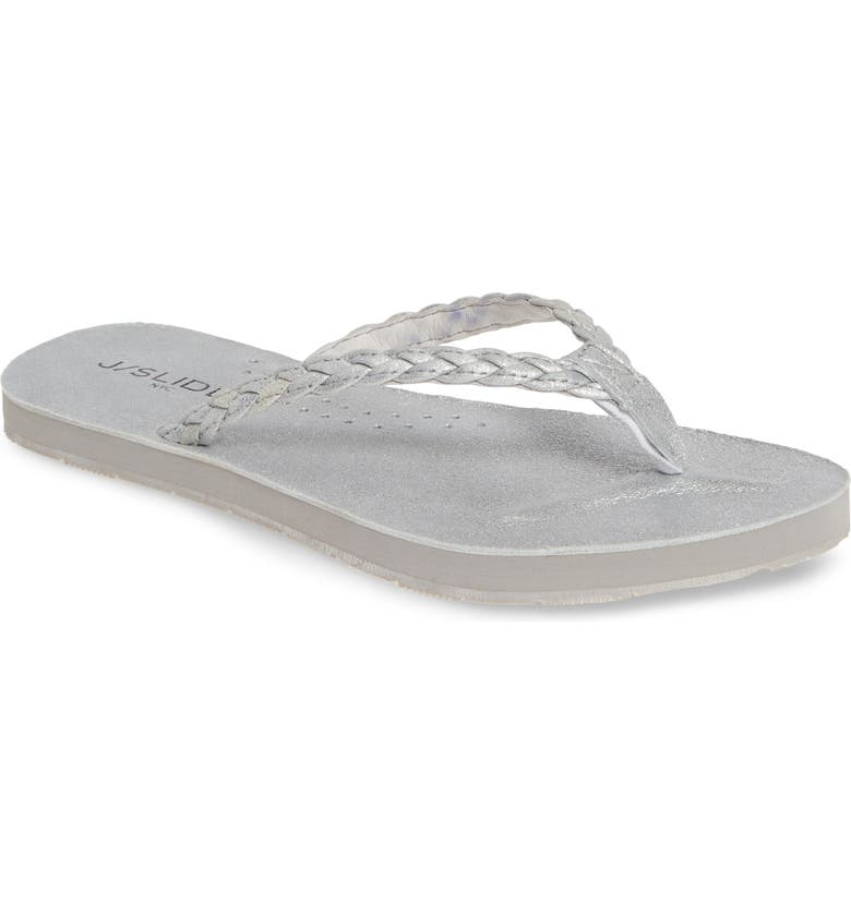 JSLIDES Nadia Braided Flip Flop, Main, color, SILVER METALLIC LEATHER