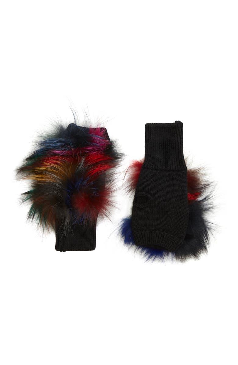 JOCELYN Insomniac Knit & Genuine Fox Fur Open Finger Mittens, Main, color, 400