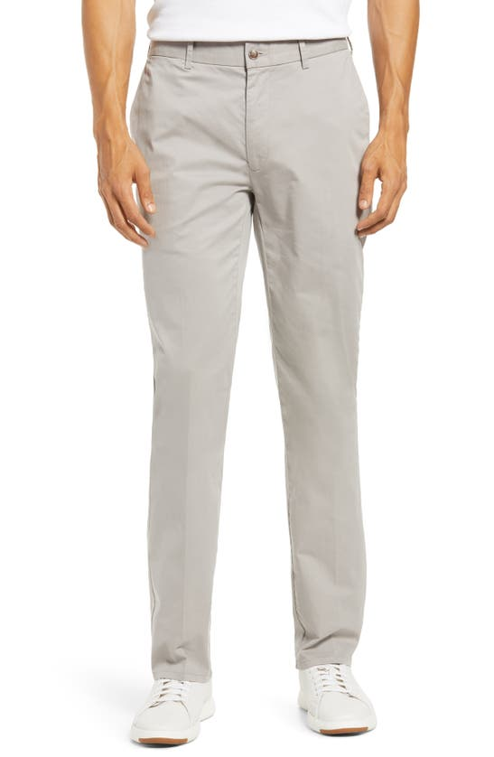Peter Millar Crown Soft Flat Front Stretch Cotton & Silk Dress Pants In Gale Grey