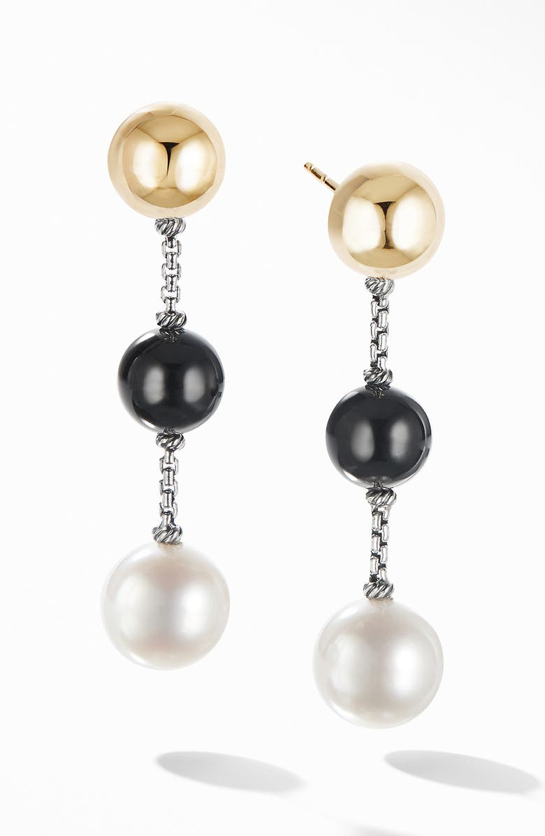 DAVID YURMAN Solari XL Chain Drop Earrings with Black Onyx, Pearl and 14K Yellow Gold, Main, color, SILVER/ ONYX/ PEARL