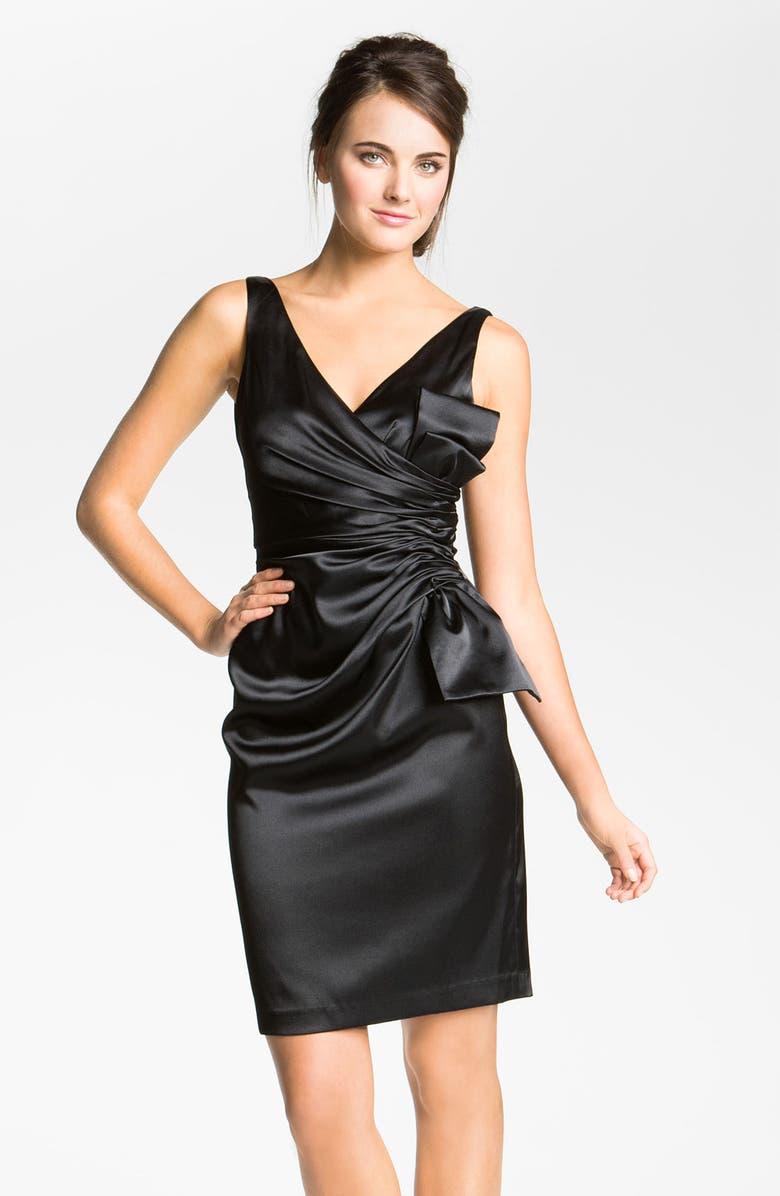 MAGGY LONDON Side Bow Stretch Satin Sheath Dress, Main, color, 001
