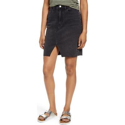 Tinsel Slit Front Denim Skirt, Black