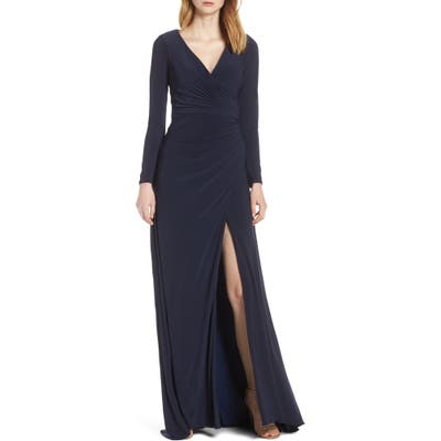 Ieena For MAC Duggal Long Sleeve Front Slit Jersey Gown, 0 (similar to 18W) - Blue
