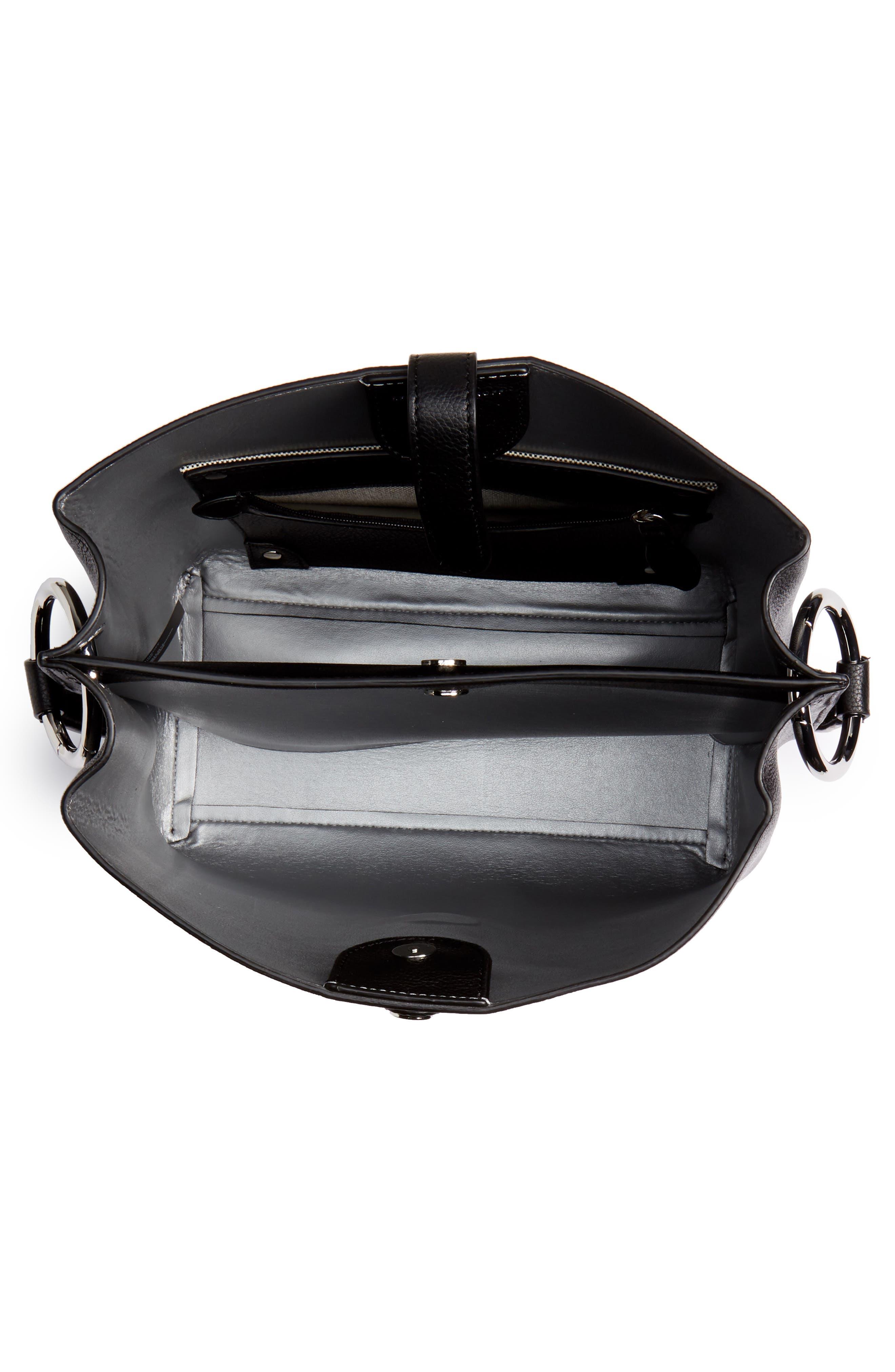 ,                             Megan Leather Crossbody Bag,                             Alternate thumbnail 5, color,                             BLACK