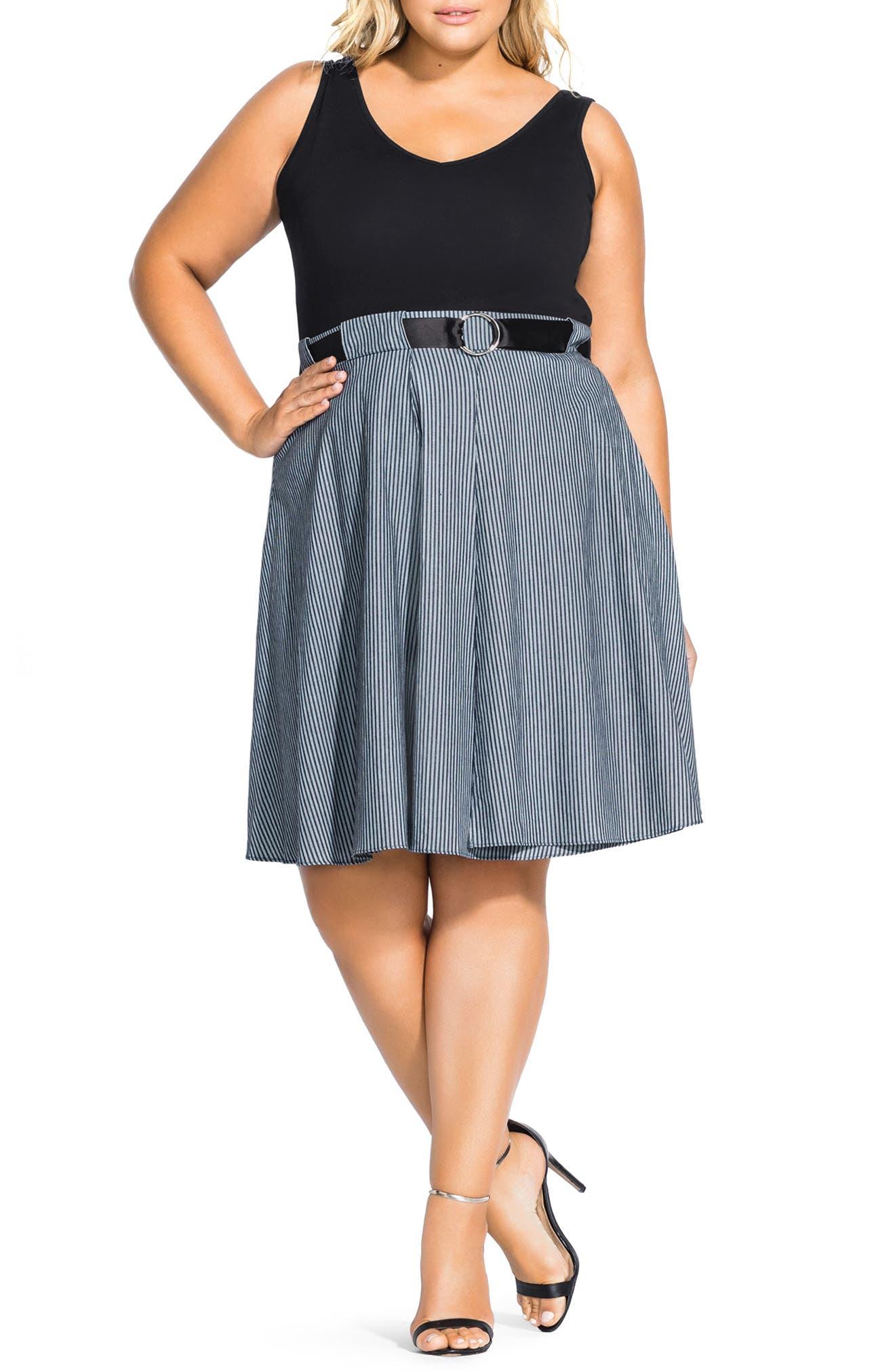Plus Size City Chic Mix Media Belted Sleeveless Dress, Black