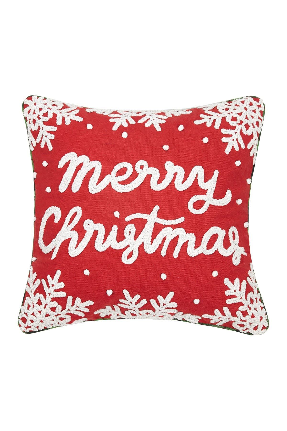 Image of Peking Handicraft Red/White Merry Christmas Chenille Embroidered Pillow