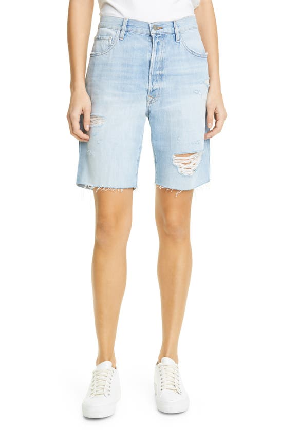 Frame Cottons LE SLOUCH RIPPED HIGH WAIST BERMUDA SHORTS