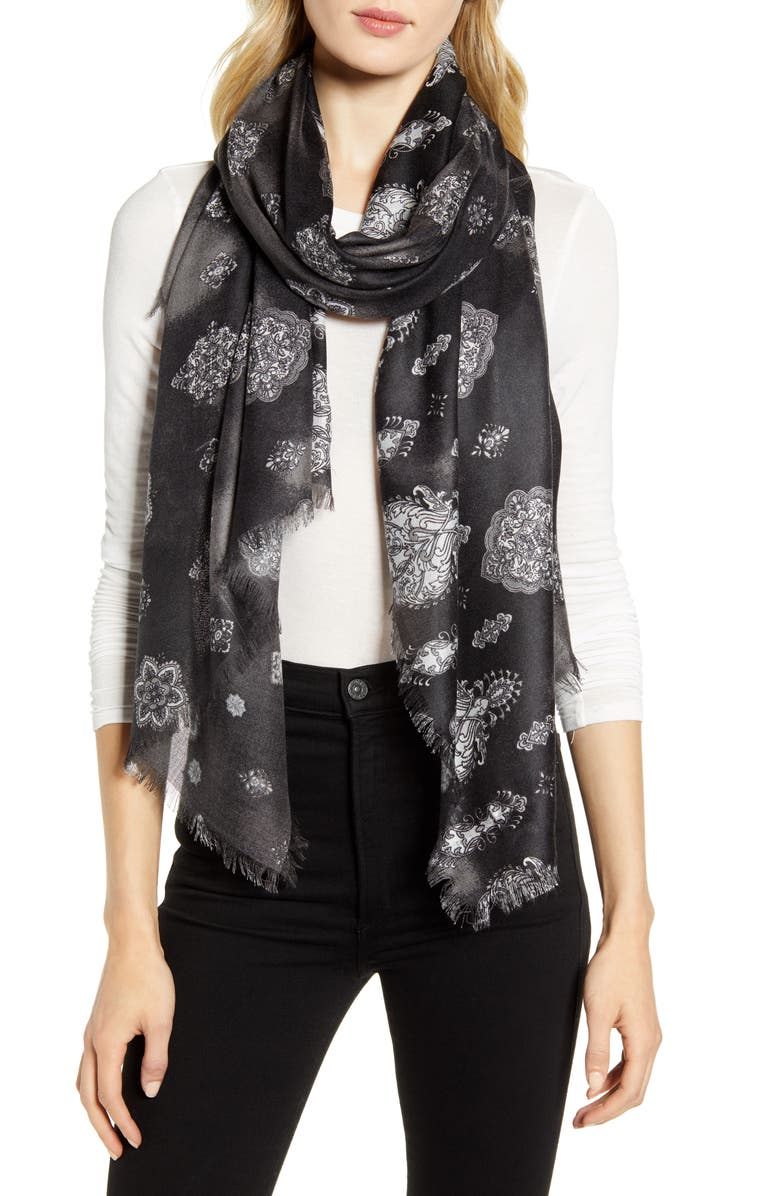 NORDSTROM Eyelash Trim Print Cashmere & Silk Wrap, Main, color, BLACK JESSIE FOULARD PRINT
