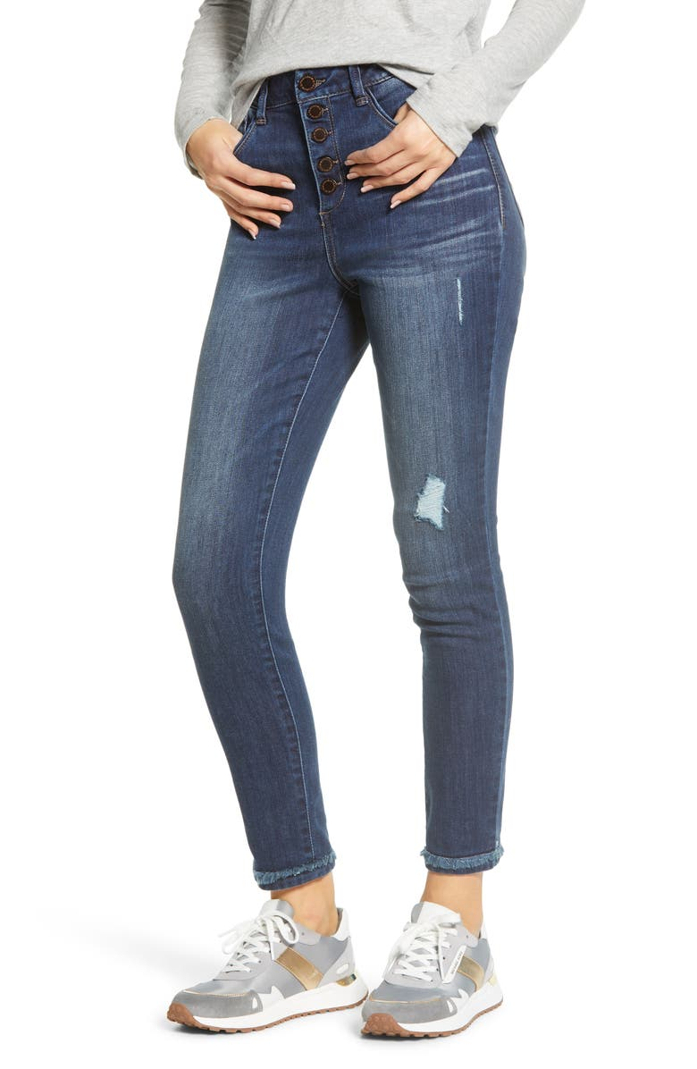 WIT & WISDOM Ab-Solution High Waist Fringe Cuff Ankle Jeans, Main, color, BLUE