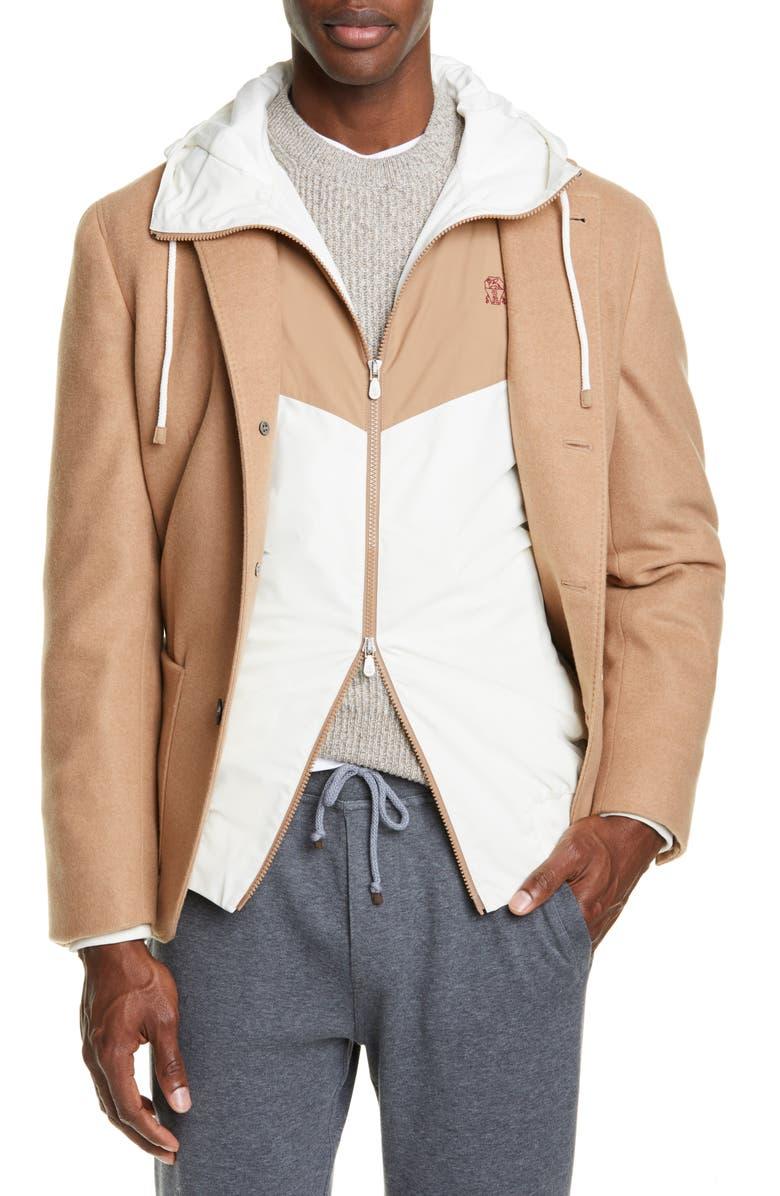 BRUNELLO CUCINELLI Plush Cashmere Overcoat, Main, color, CAMEL