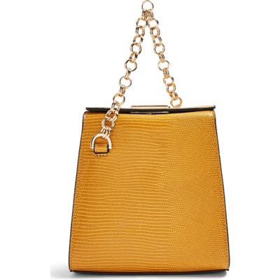 Topshop Sami Croc Embossed Shoulder Bag - Yellow