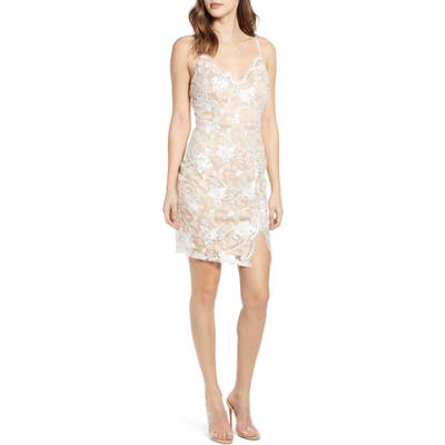 Love, Nickie Lew Scallop Neck Lace Slipdress, Ivory