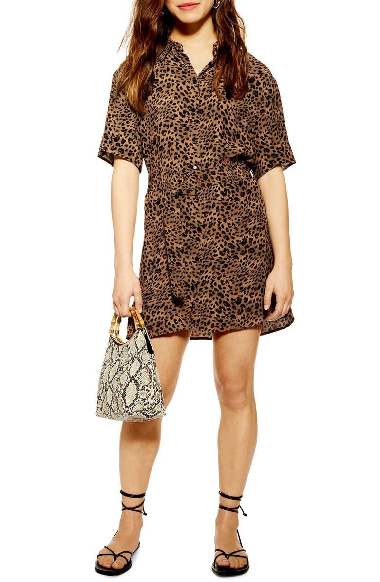 TOPSHOP Animal Shirt Minidress, Main, color, 210
