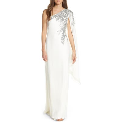 Tadashi Shoji Cape Sleeve Crepe Evening Dress, Ivory
