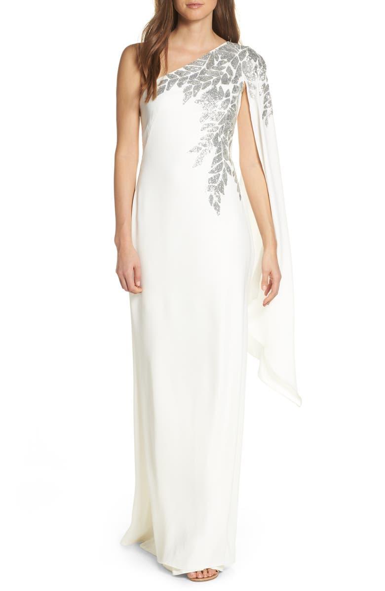 TADASHI SHOJI Cape Sleeve Crepe Evening Dress, Main, color, IVORY/ SILVER