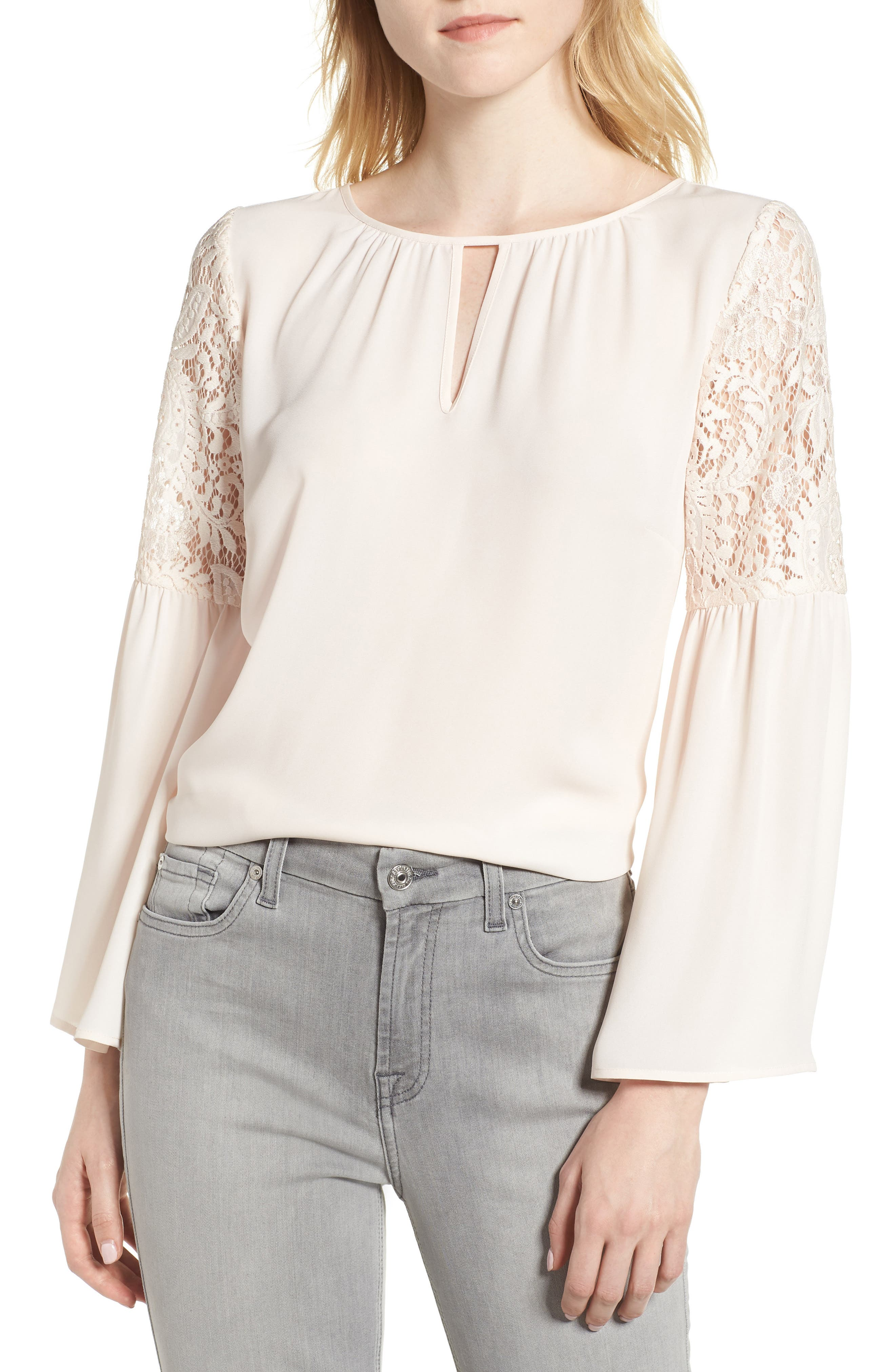 ,                             Lace Bell Sleeve Top,                             Main thumbnail 32, color,                             681