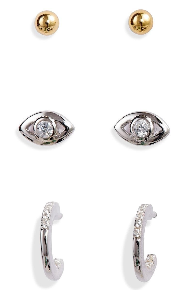 ARGENTO VIVO Set of 3 Earrings, Main, color, GOLD/ SILVER