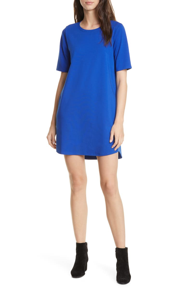 EILEEN FISHER Stretch Organic Cotton T-Shirt Dress, Main, color, ROYAL