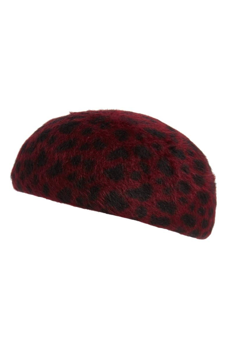 EUGENIA KIM Leopard Print Fur Felt Cap, Main, color, RED LEOPARD