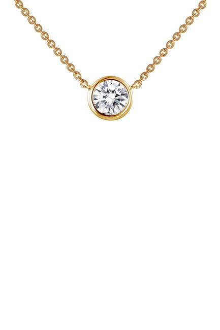 Image of LaFonn 18K Gold Plated Sterling Silver Bezel Set Solitaire Simulated Diamond Necklace
