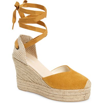 Soludos Mallorca Lace-Up Espadrille Wedge Sandal, Yellow