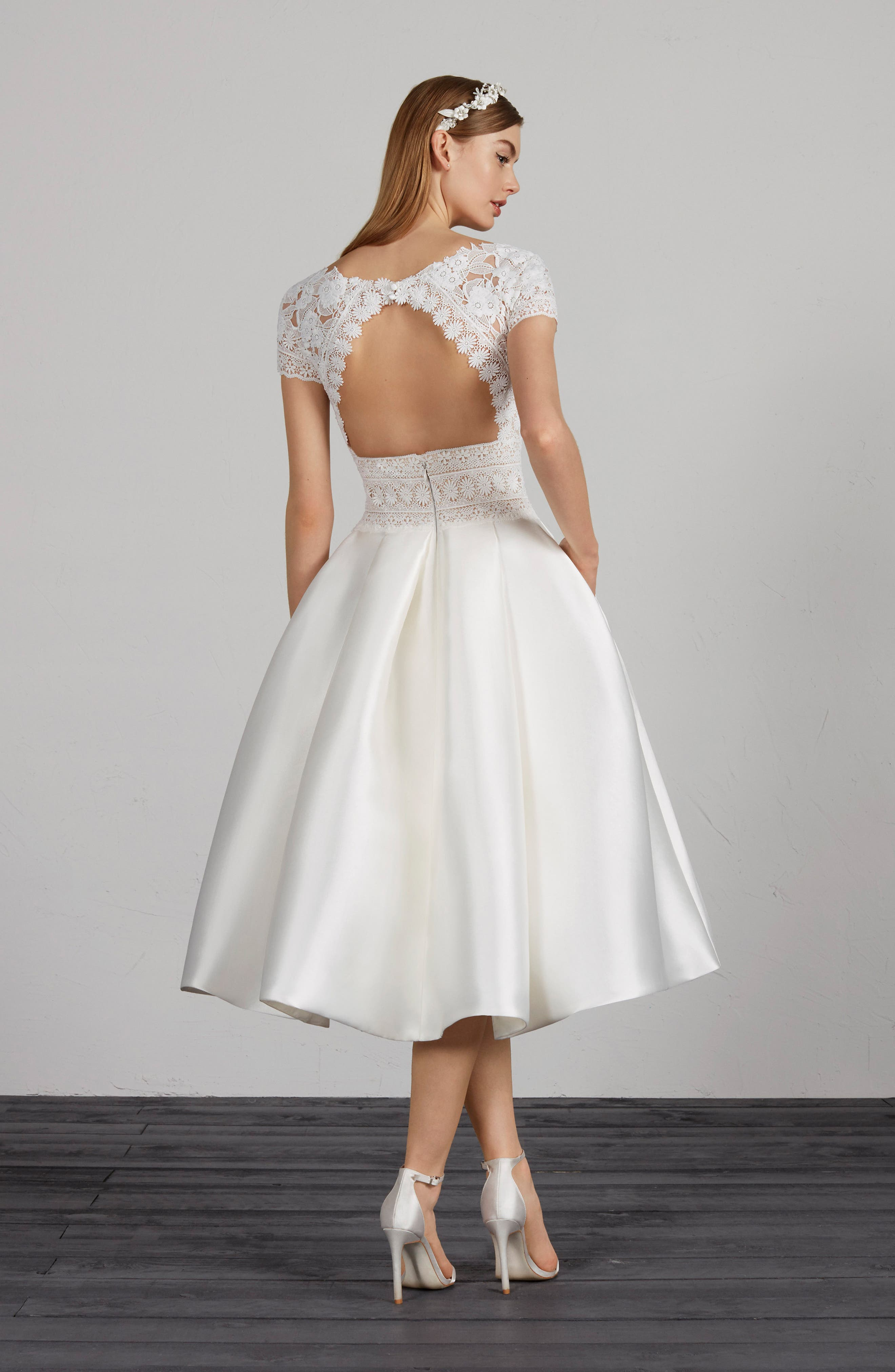 ,                             Miami Lace & Mikado Tea Length Dress,                             Alternate thumbnail 2, color,                             OFF WHITE/ CRST/ ND