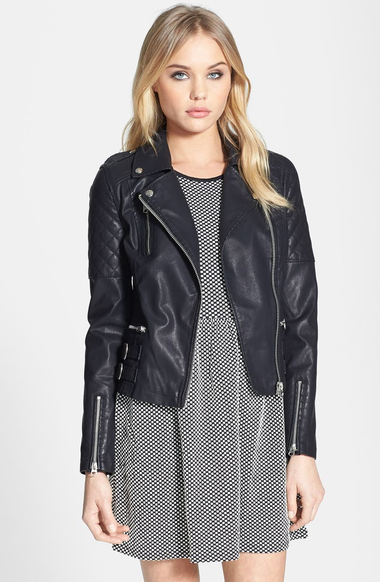 TOPSHOP 'Wylde' Faux Leather Biker Jacket, Main, color, 001