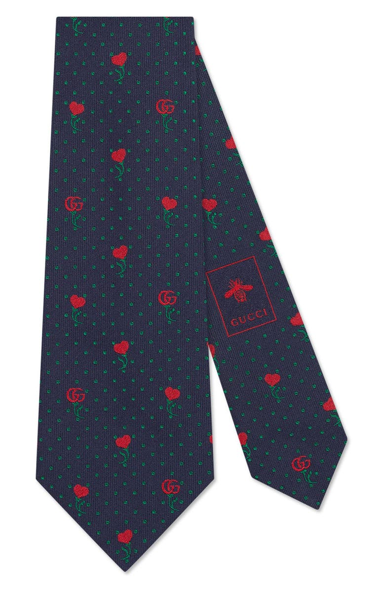GUCCI Heart & Flowers Silk Tie, Main, color, NAVY/ RED