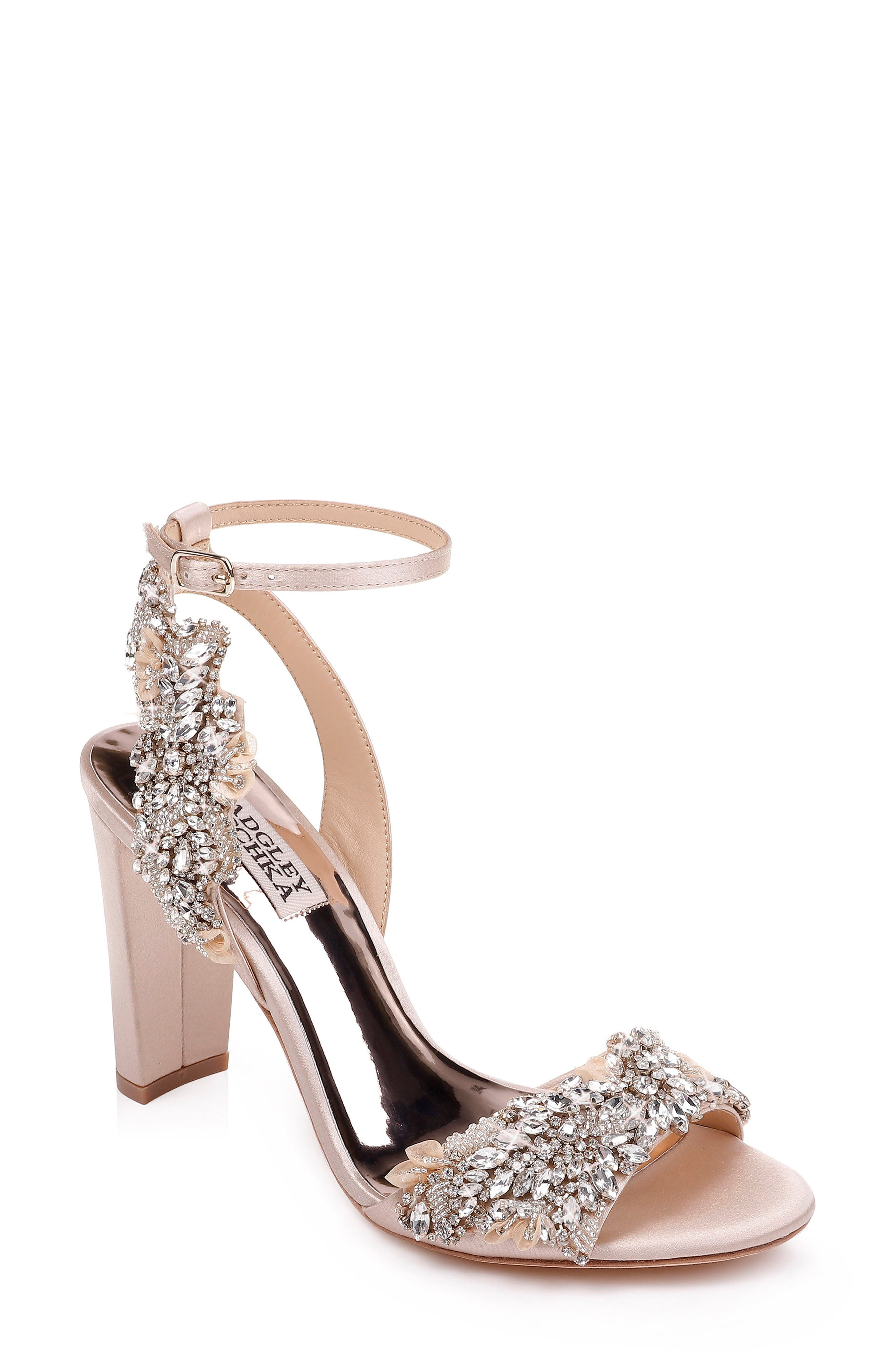 Sparkling crystal embellishments dazzle on the straps of a block-heel sandal covered in lustrous satin. Style Name: Badgley Mischka Libby Ankle Strap Sandal (Women). Style Number: 5794766. Available in stores.