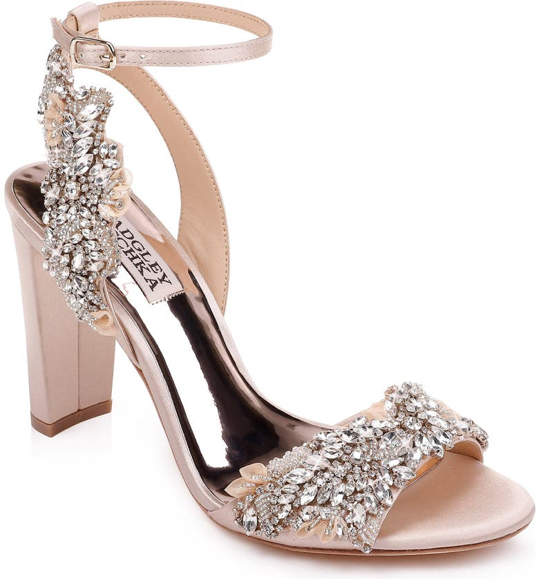 BADGLEY MISCHKA COLLECTION Badgley Mischka Libby Ankle Strap Sandal, Main, color, NUDE SATIN