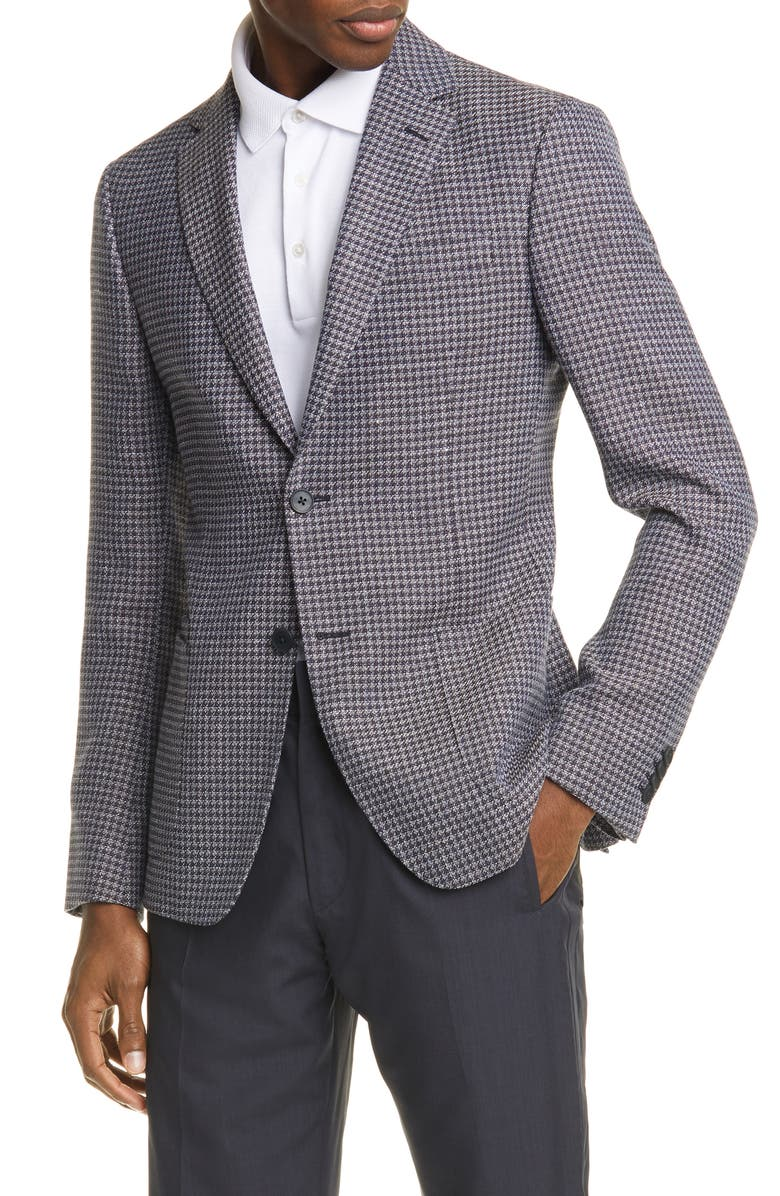 Z ZEGNA Trim Fit Houndstooth Wool & Linen Sport Coat, Main, color, NAVY