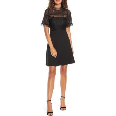 Petite Chelsea28 Lace Bodice Mock Neck Fit & Flare Dress, Black