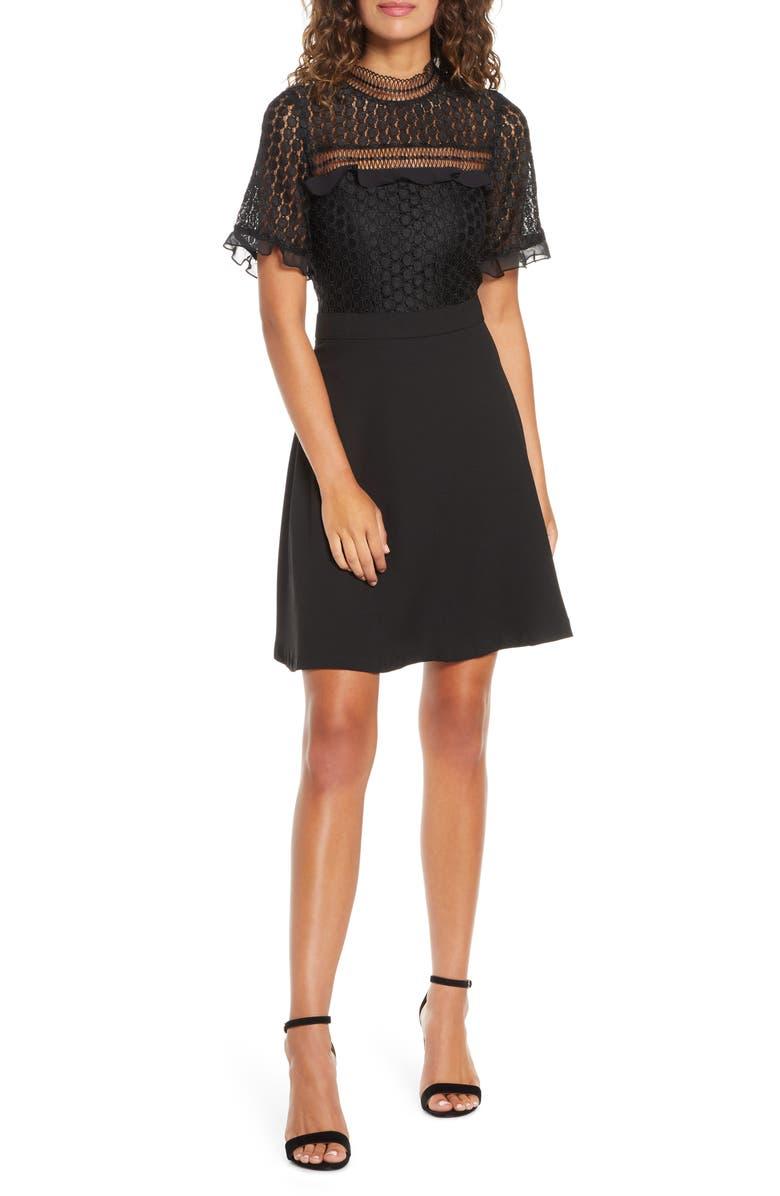 CHELSEA28 Lace Bodice Mock Neck Fit & Flare Dress, Main, color, BLACK