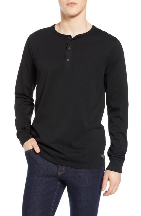 Scotch & Soda Long Sleeve Jersey Grandad T-shirt In Black