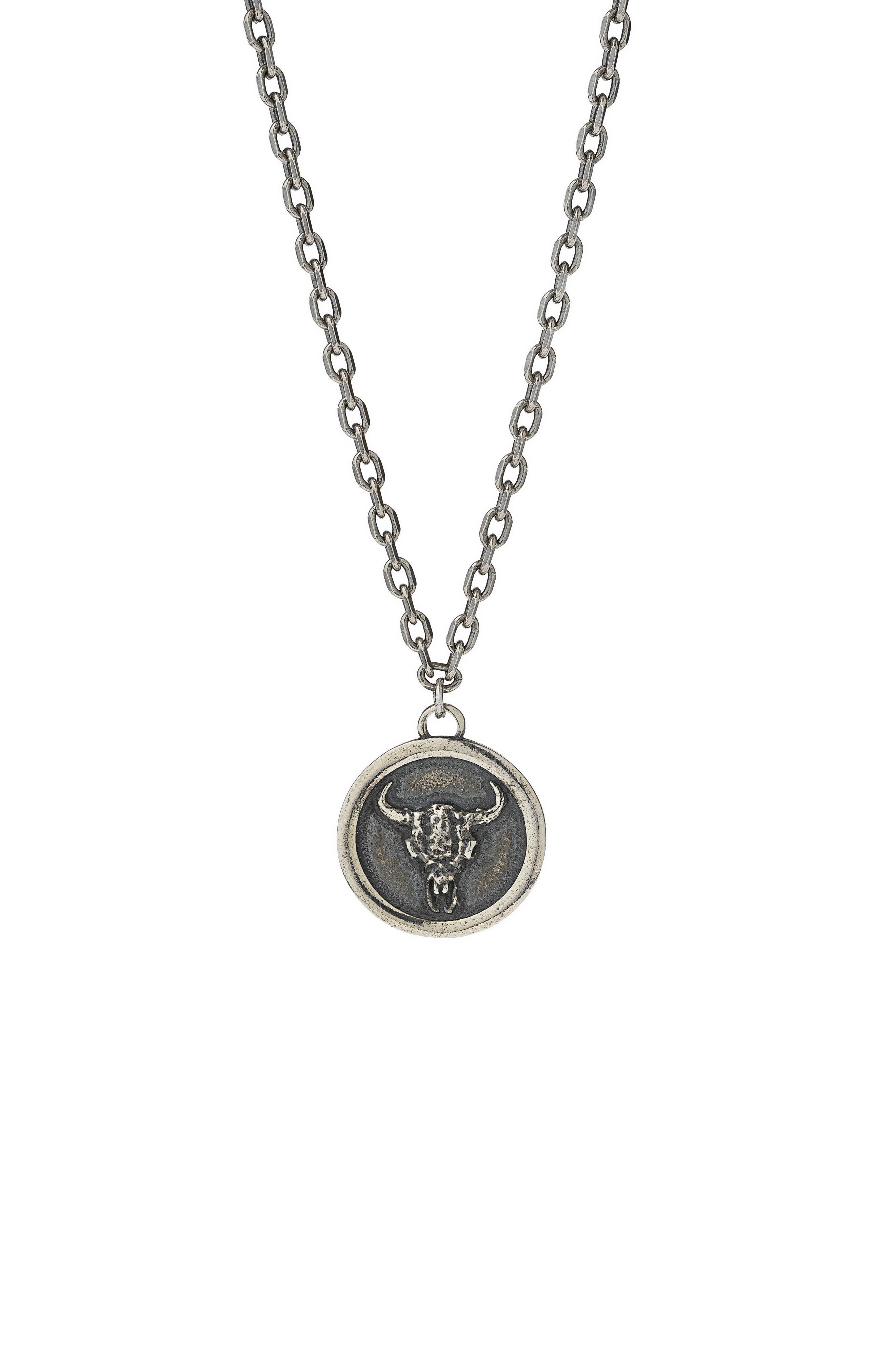 Men's Bull Skull Coin Necklace