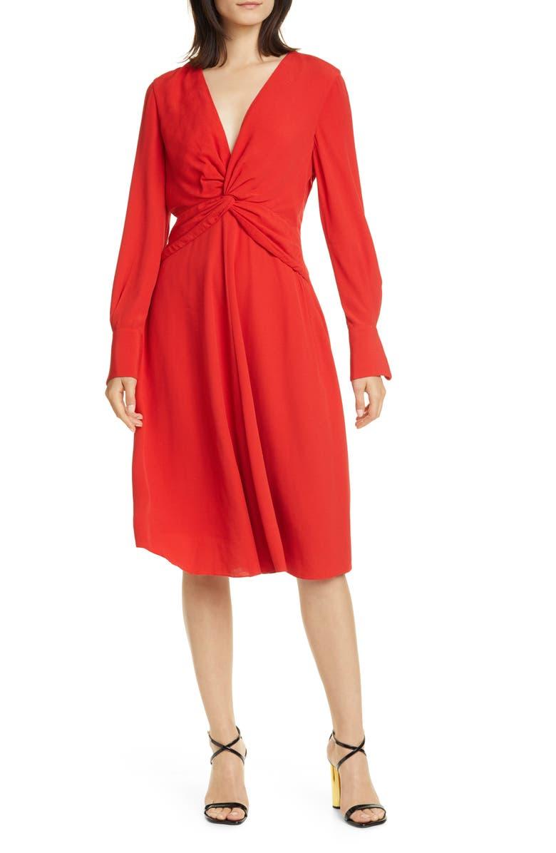 EQUIPMENT Faun Long Sleeve Dress, Main, color, AURA ORANGE