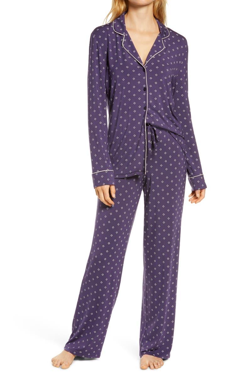 NORDSTROM LINGERIE Moonlight Pajamas, Main, color, PURPLE VELVET GEO