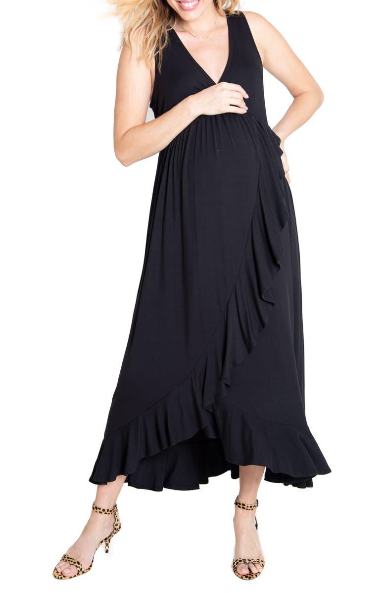 INGRID & ISABEL<SUP>®</SUP> Surplice Maternity Maxi Dress, Main, color, BLACK
