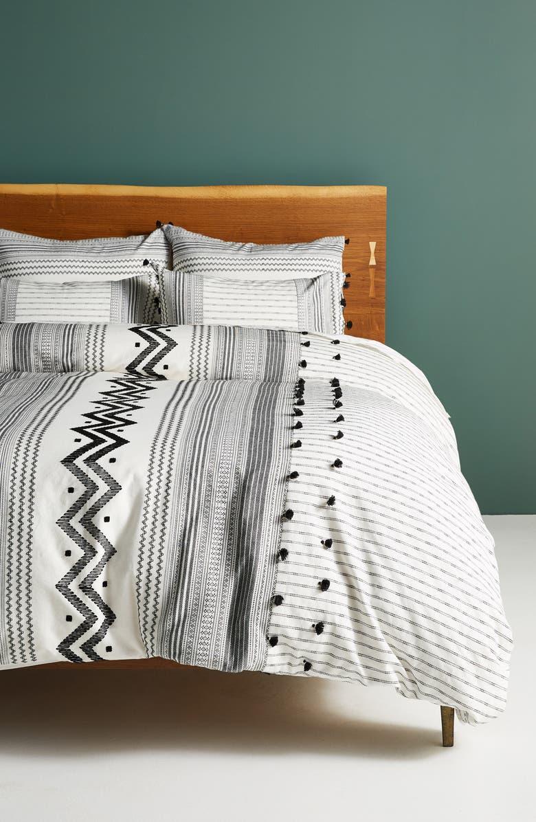 ANTHROPOLOGIE Embellished Pendana Duvet Cover, Main, color, IVORY/ BLACK