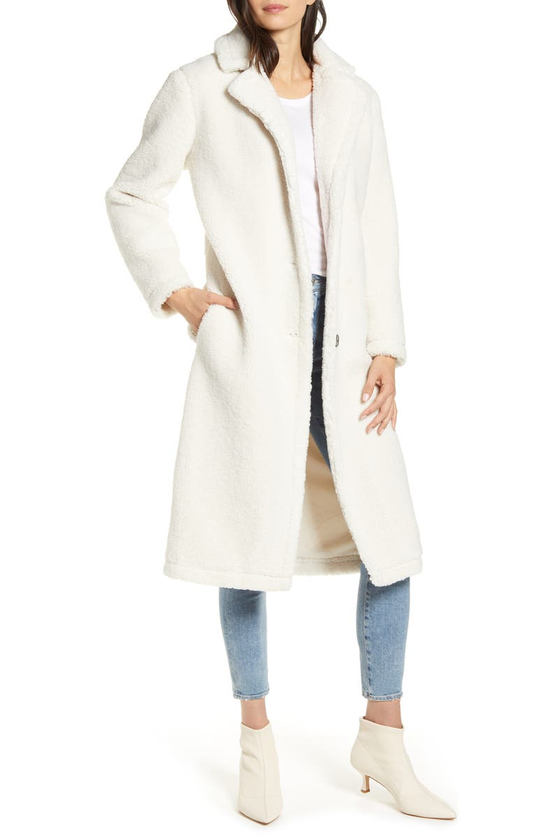 CUPCAKES AND CASHMERE Havana Faux Shearling Coat, Main, color, OATMEAL